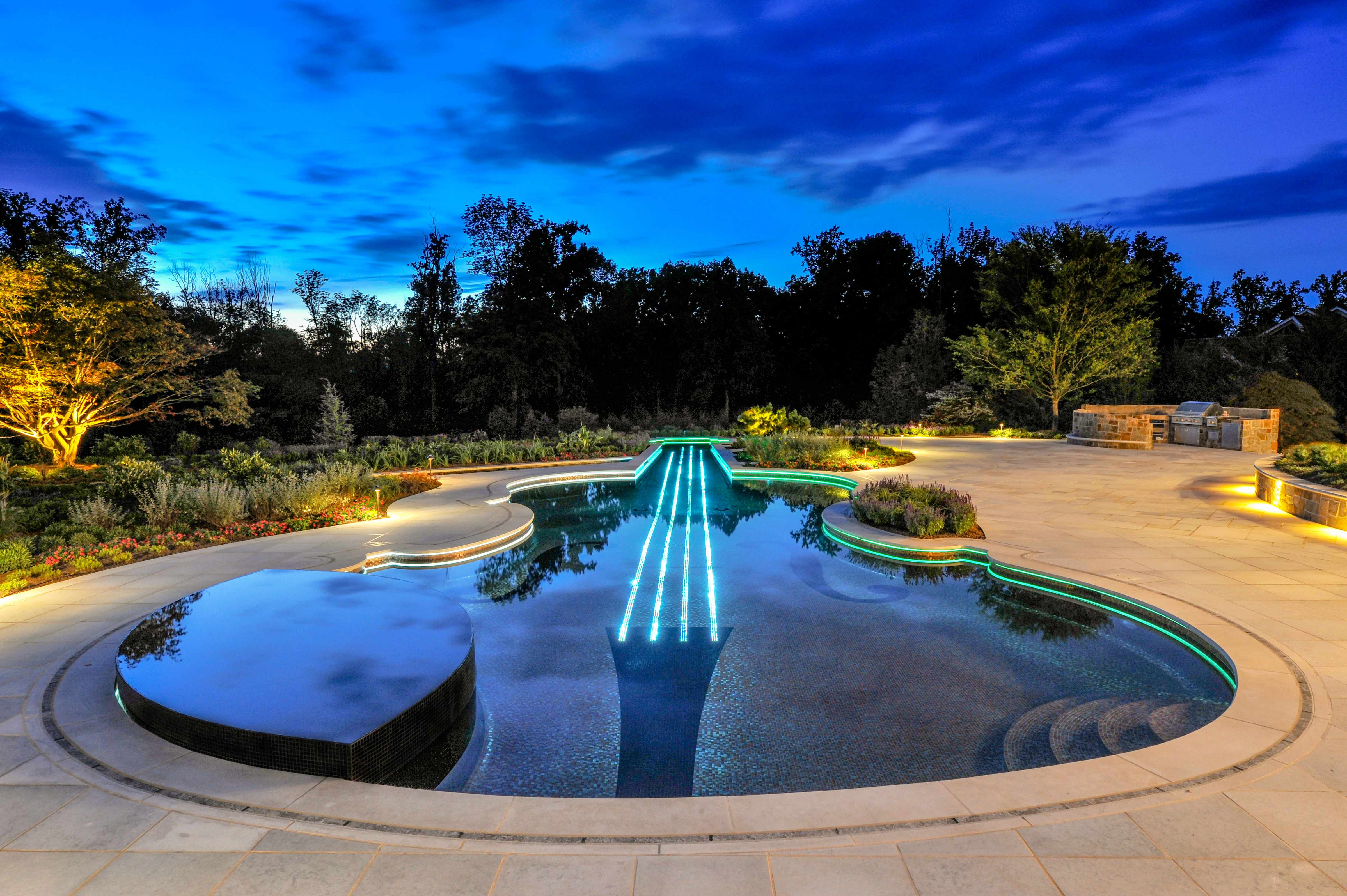 Luxury Color LED Swimming Pool and Spa Design and Installation Bergen County NJ
